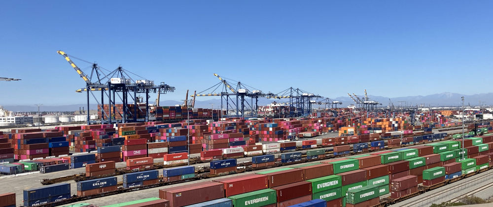 Containers on railcars in foreground with many stacked containers behind