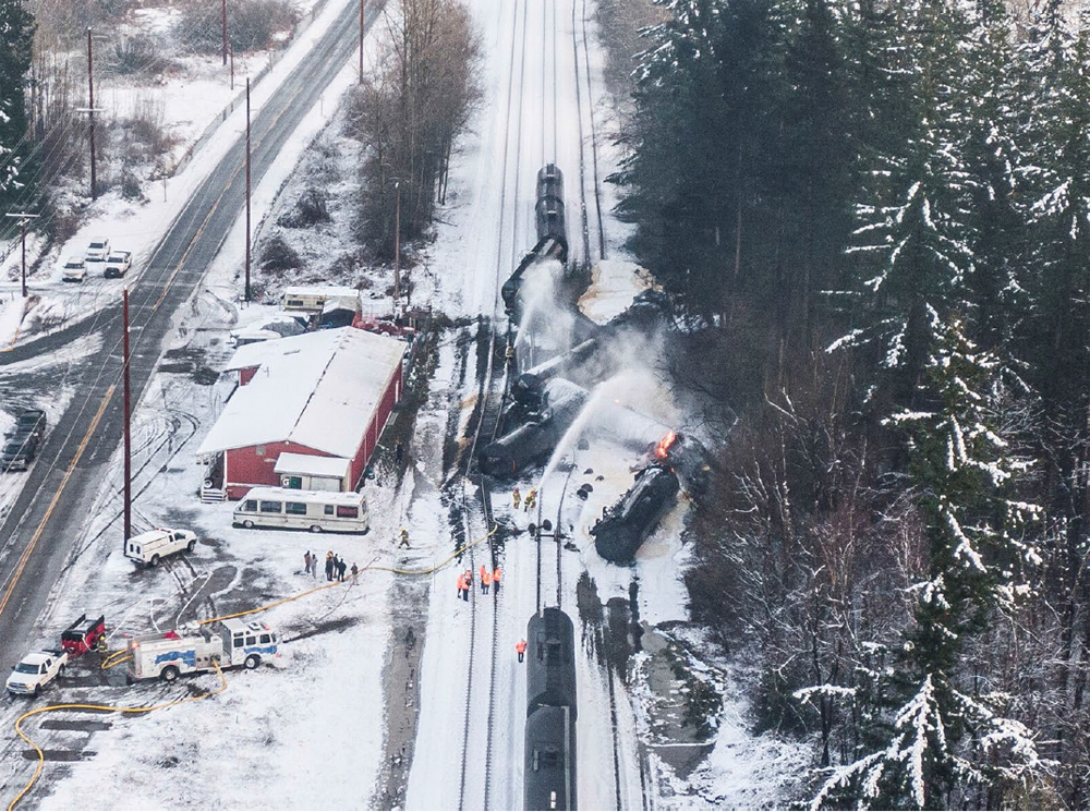 Aerial vew of derailed tank cars in snow