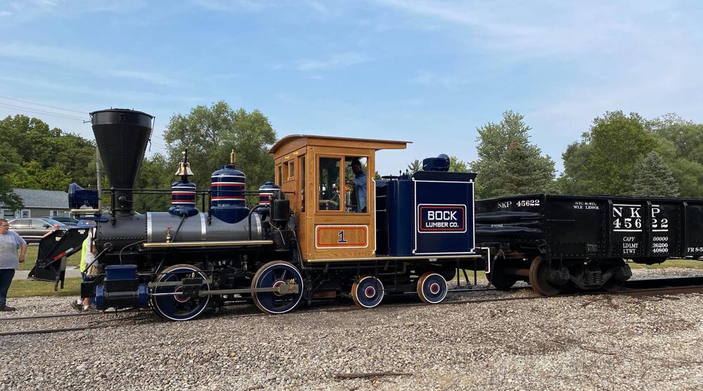 Small, ornately decorated steam locomotive