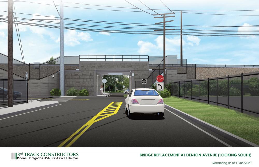 Rendering of railroad bridge and street
