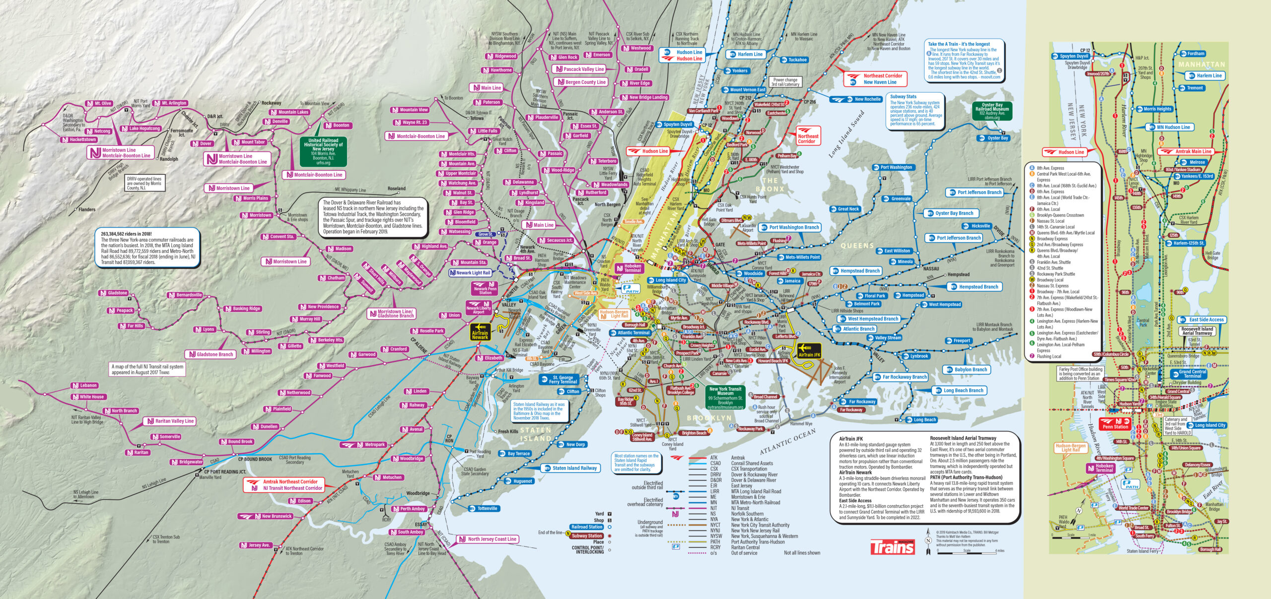 NYC train map: Complicated route map of railroads in an around New York City.