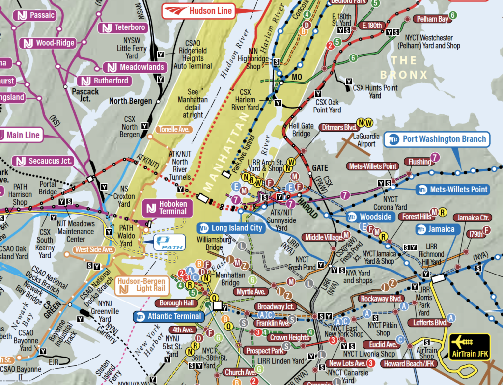 Detail portion of a NYC transit map.