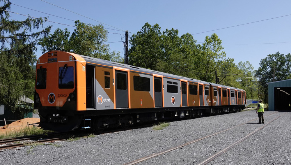 Two-car orange and gray railcars