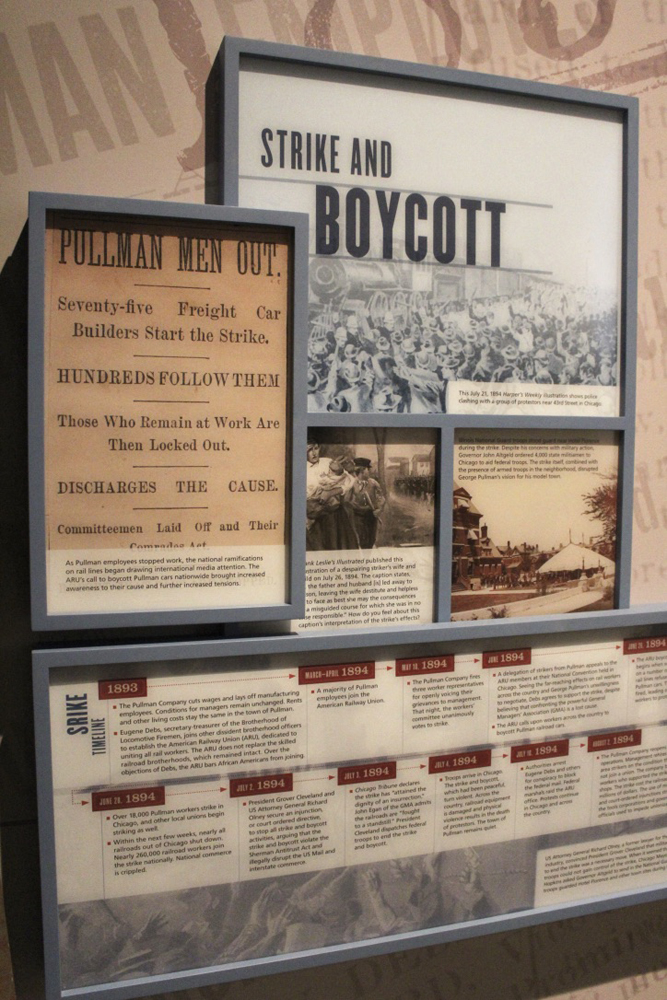 Display with signs and timelines