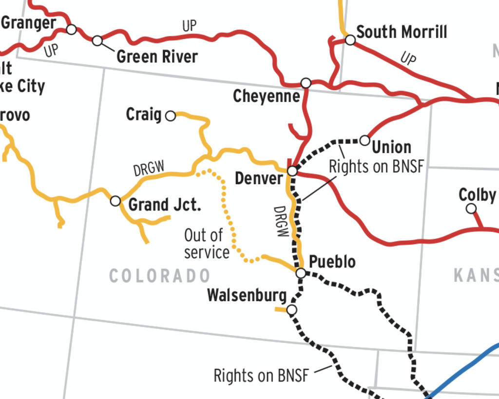 An up-close map of the Union Pacific Railroad.