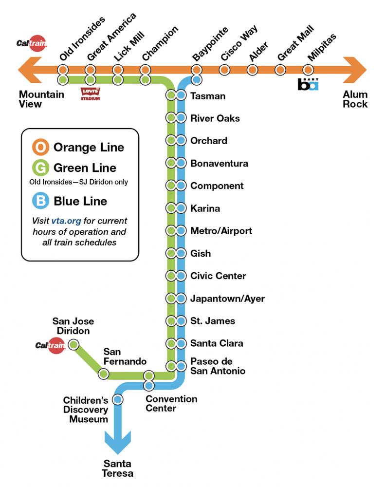 A map of the Santa Clara Valley Transportation Light Rail system