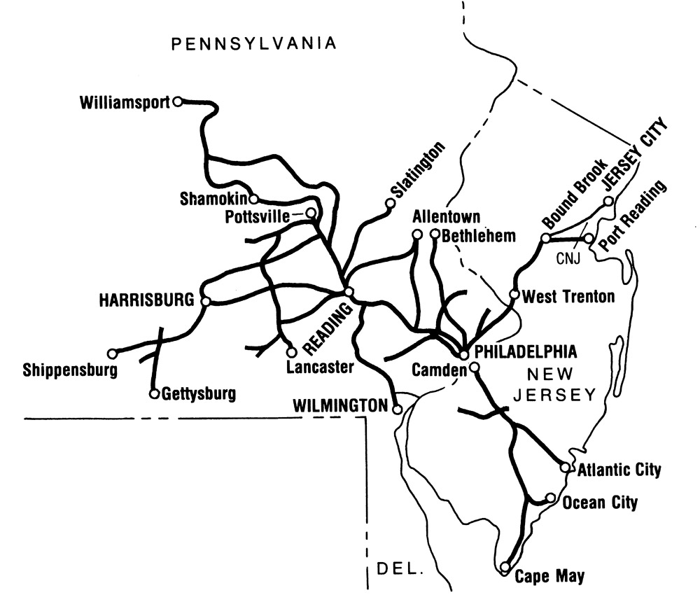 Map of Reading Railroad lines