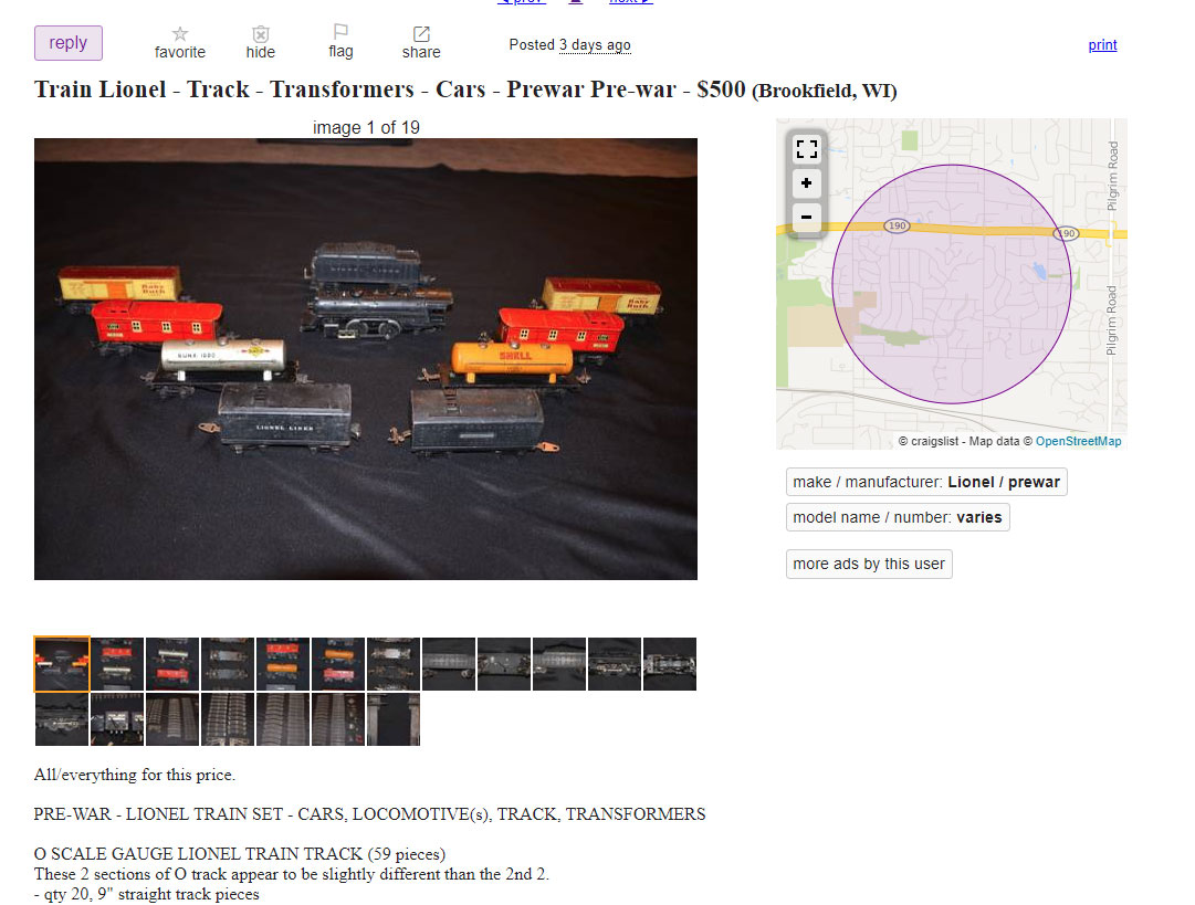 A listing for toy trains on Craigslist.