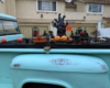 A Halloween display layout on a truck