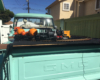 Back of a Halloween display layout on a truck
