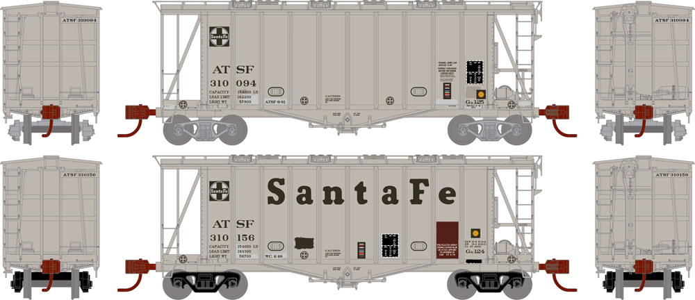 Santa Fe 2,600-cubic-foot capacity Airslide covered hopper.