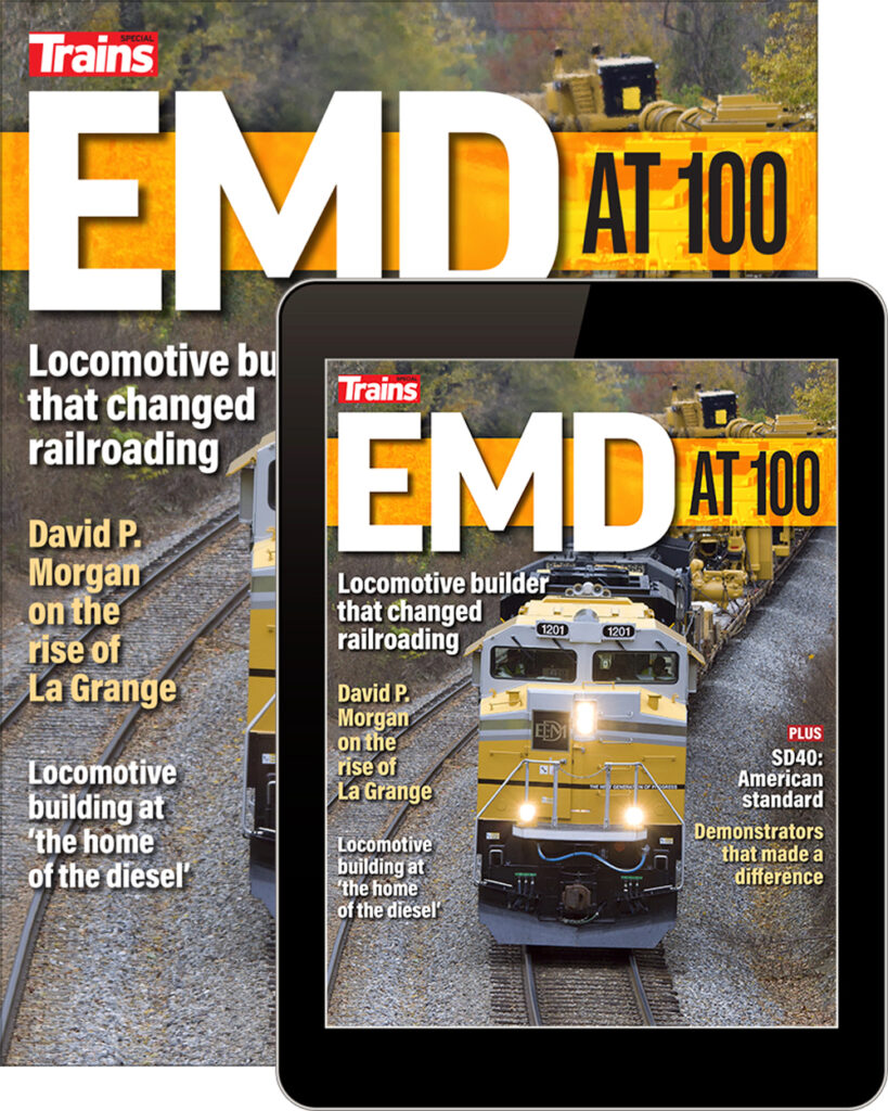 EMD at 100 special issue from Trains magazine available at the Kalmbach Hobby Store.