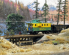 Railfans ride a green-and-yellow caboose behind a coal train as it crosses a short wooden trestle over a creek