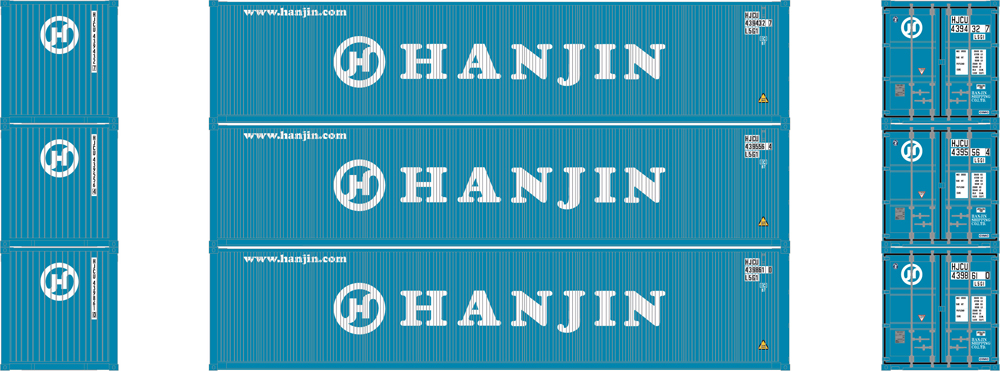 Hanjin 40-foot low-cube intermodal container.