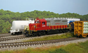 A model locomotive in a yard