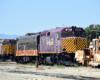 Diesel locomotives in a rail yard.