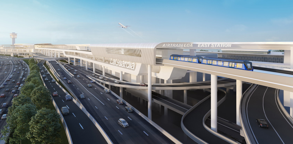 Illustration of elevated rail line at airport terminal