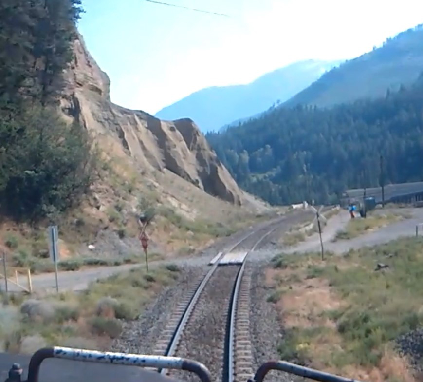 View of railroad track from locomotive