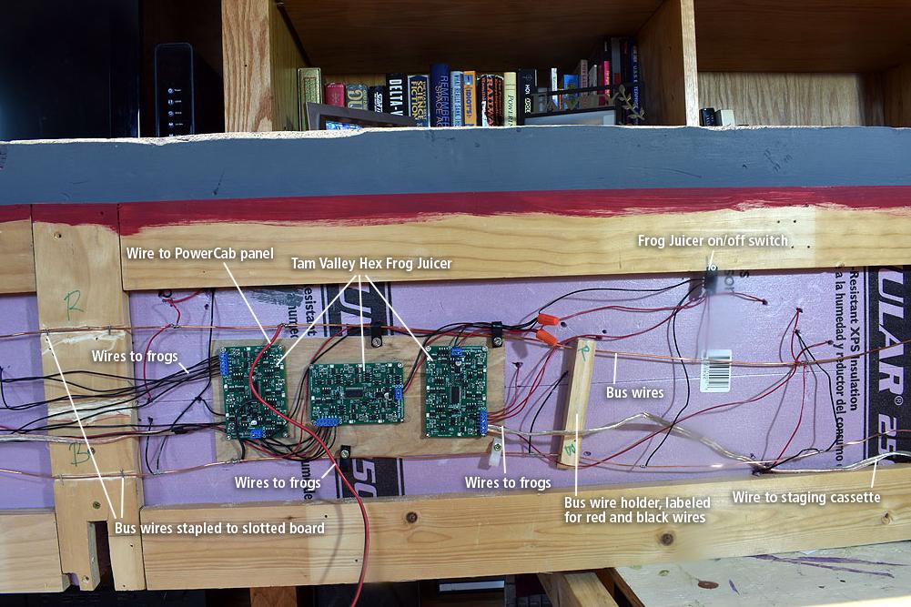 Underside of table revealing wiring